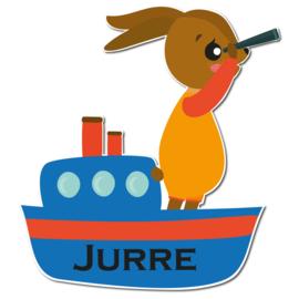 Geboortebord Jurre - haasje konijntje op bootje verrekijker