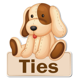 Geboortebord Ties  -  hond knuffelbeer naambordje