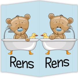 Raambord Rens - geboortebord raam beertje badeend