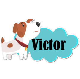Geboortebord Victor - hondje jack russel