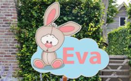 Geboortebord Eva  -  konijntje op wolk