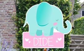 Geboortebord Dide - olifantje met naam