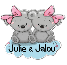 Geboortebord Julie & Jalou - beertjes met strikjes