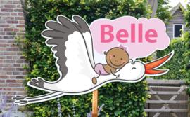 Geboortebord Belle  -  baby op ooievaar