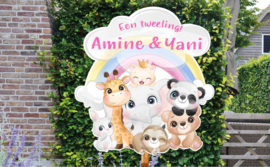 Geboortebord tweeling Amine & Yani - Regenboog met blije dieren