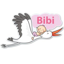 Geboortebord Bibi  -  baby op ooievaar