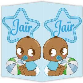 Raambord Jaïr - geboortebord raam ster bal babyblauw
