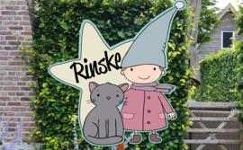 Geboortebord Rinske  -  meisje met kaboutermuts en poesje