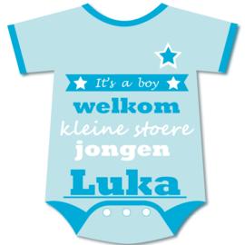 Geboortebord Luka  -  rompertje met naam