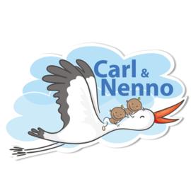 Geboortebord Carl & Nenno - tweeling jongens ooievaar