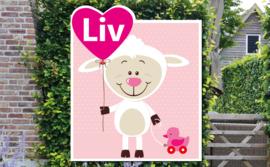 Geboortebord Liv  -  schaapje met hartjesballon en eendje