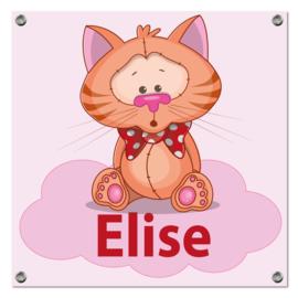 Spandoek Elise - poesje met strik op wolk