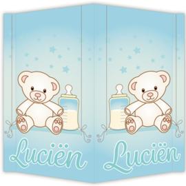 Raambord Luciën - geboortebord raam beertje schommel