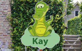 Geboortebord Kay  -  krokodil wolk