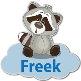 Geboortebord Freek  -  wasbeertje wolk