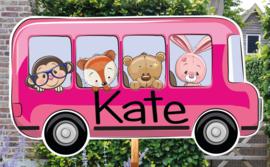 Geboortebord Katy - dieren in busje schoolreisje schoolbus