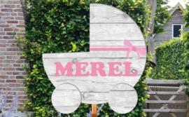 Geboortebord Merel - steigerhouten (printed) wieg kinderwagen wandelwagen
