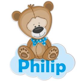 Geboortebord Philip - beertje met strik op wolk