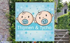 Geboortebord Thijmen & Tycho - tweeling jongens met fopspeen