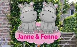 Geboortebord Janne & Fenne - tweeling meisjes nijlpaard