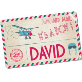 Geboortebord David  -  briefkaart ansichtkaart airmail