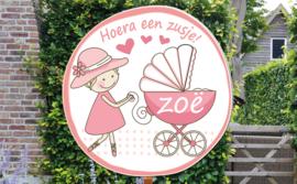 Geboortebord Zoë  -  grote zus met kinderwagen wandelwagen
