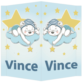 Raambord Vince - geboortebord wolkje sterren beertje muts