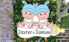 Geboortebord Dexter & Damian - baby jongetjes met mutsje op flesje