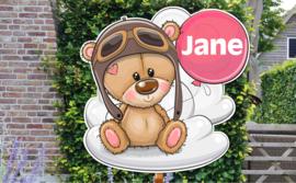 Geboortebord Jane - beertje met pilotenmuts en ballon op wolk