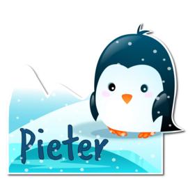 Geboortebord Pieter - pinguin met ijsberg sneeuw