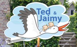 Geboortebord Ted & Jaimy - tweeling jongens ooievaar