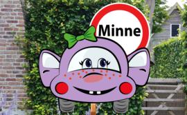 Geboortebord Minne  -  autootje met verkeersbord