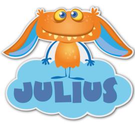Geboortebord Julius  -  monstertje wolk