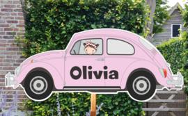 Geboortebord Olivia  -  meisje in volkswagen kever vw beatle