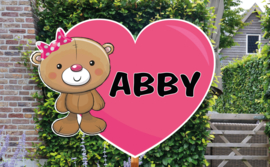 Geboortebord Abby - schattig beertje strikje hartje