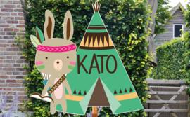 Geboortebord Kato - indiaantje met tipi tent