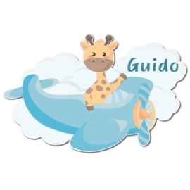 Geboortebord Guido - giraffe in vliegtuigje