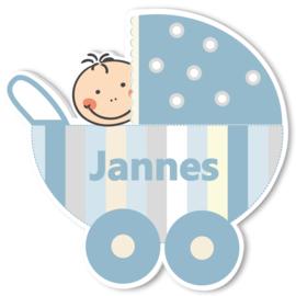 Geboortebord Jannes  -  wieg kinderwagen