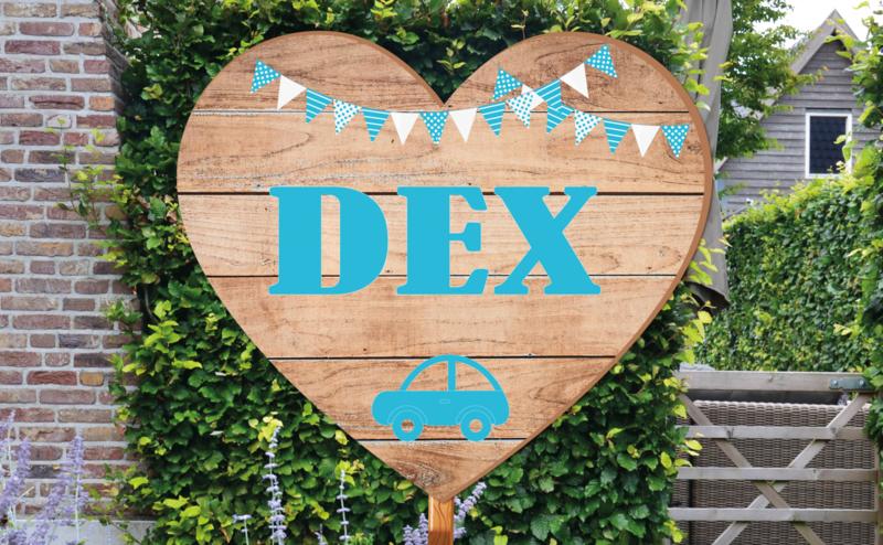 Geboortebord Dex  -  steigerhouten (printed) hart vlaggetjes autootje