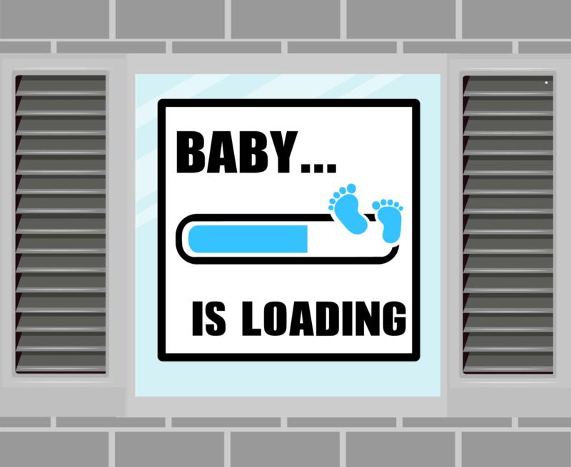 Raamsticker Baby Loading blauw