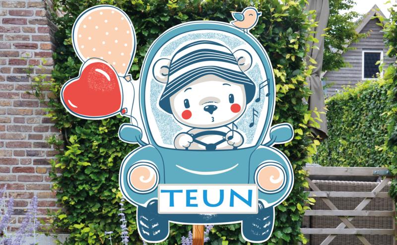 Geboortebord Teun  -  beertje auto ballonnen hartje