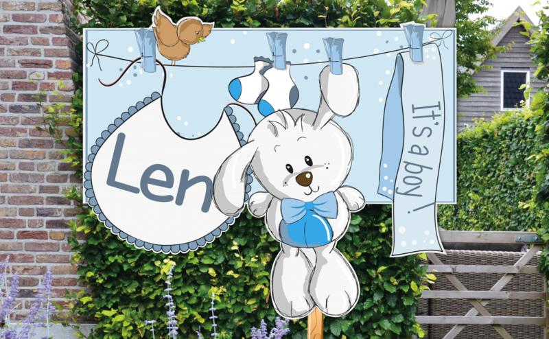 Geboortebord Len - konijntje aan waslijn slabbetje