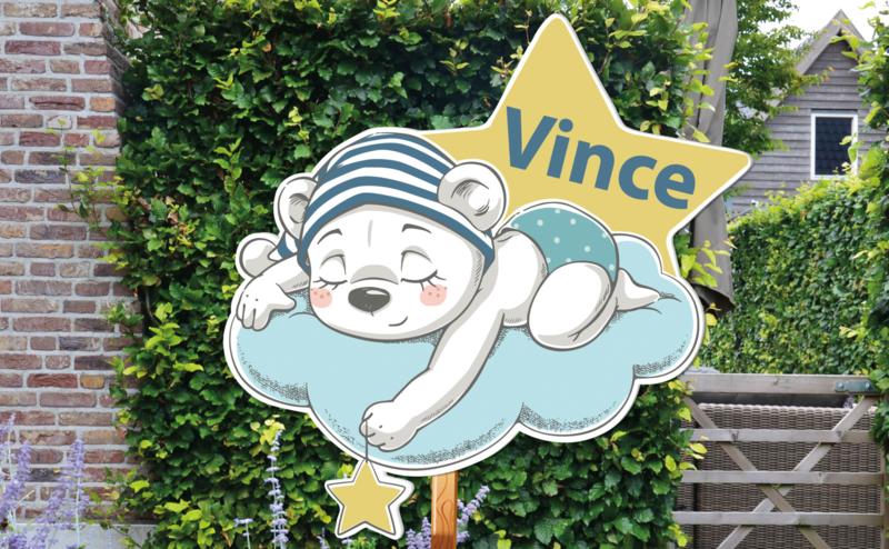 Geboortebord Vince  -  beertje mutsje wolk sterren