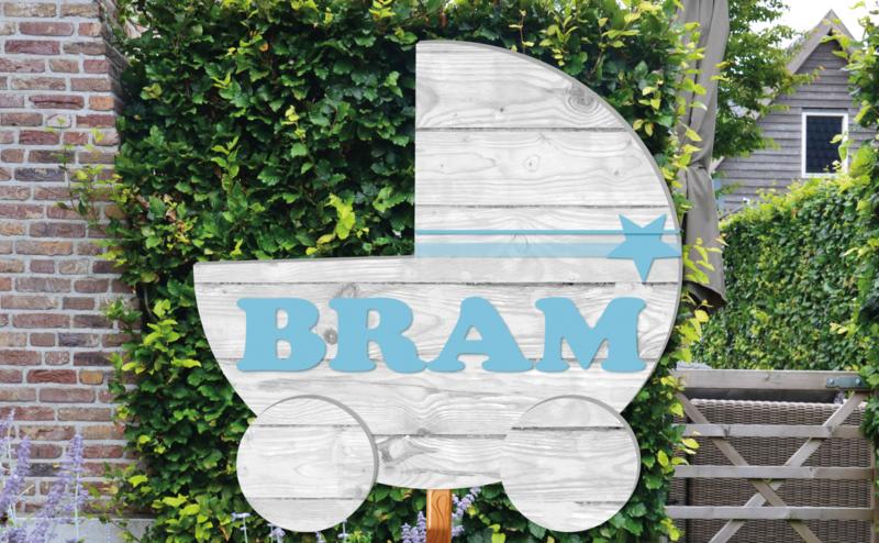 Geboortebord Bram  -  steigerhouten (printed) wieg kinderwagen