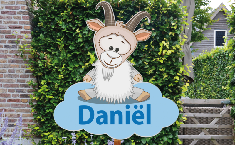 Geboortebord Daniël  -  bokje geitje wolk