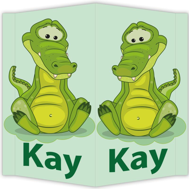 Raambord Kay - geboortebord raam krokodil groen