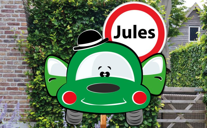 Geboortebord Jules  -  autootje hoedje verkeersbord