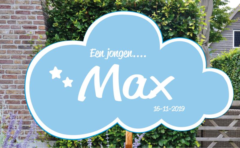 Geboortebord Max - wolkje met sterretjes geboortedatum - Een jongen....