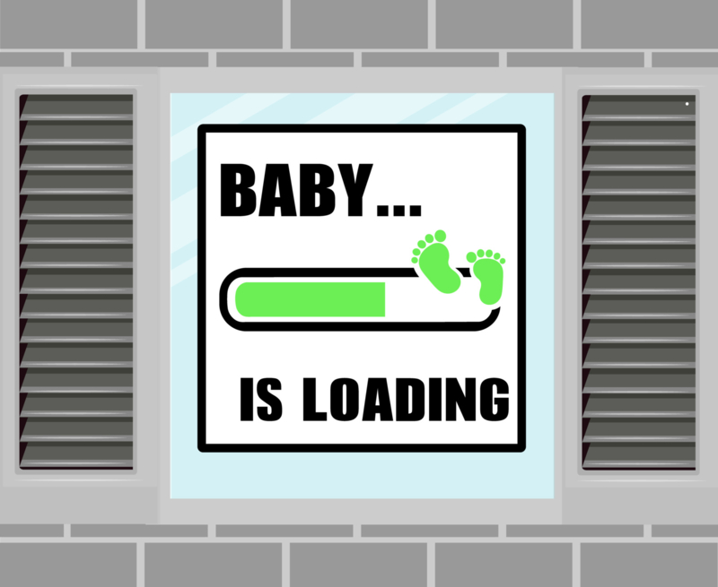 Raamsticker Baby Loading groen