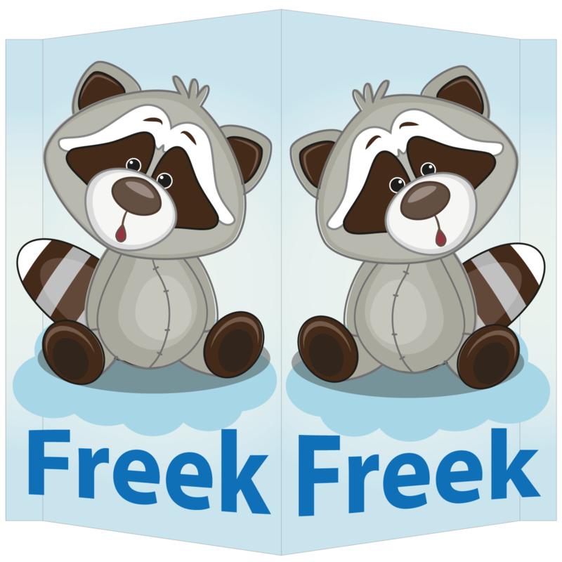 Raambord Freek - geboortebord raam wasbeertje